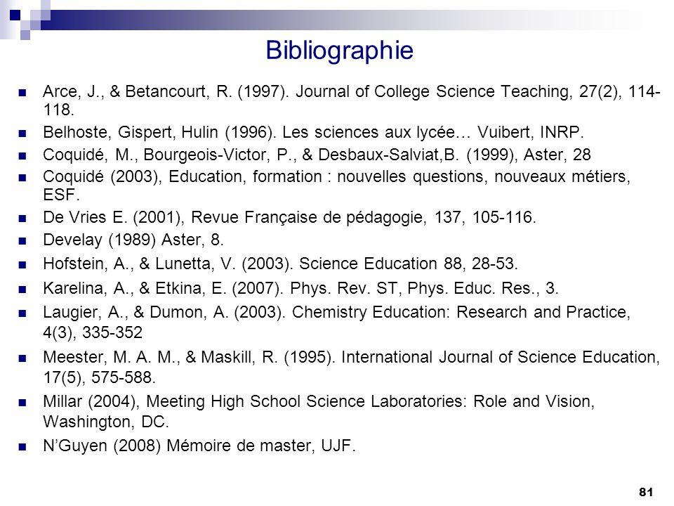 81 Bibliographie Arce, J., & Betancourt, R. (1997). Journal of College Science Teaching, 27(2), 114- 118. Belhoste, Gispert, Hulin (1996). Les science