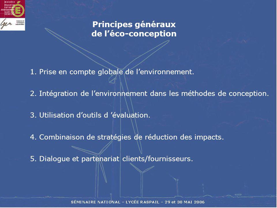 1. Prise en compte globale de lenvironnement. 2. Intégration de lenvironnement dans les méthodes de conception. 3. Utilisation doutils d évaluation. 4
