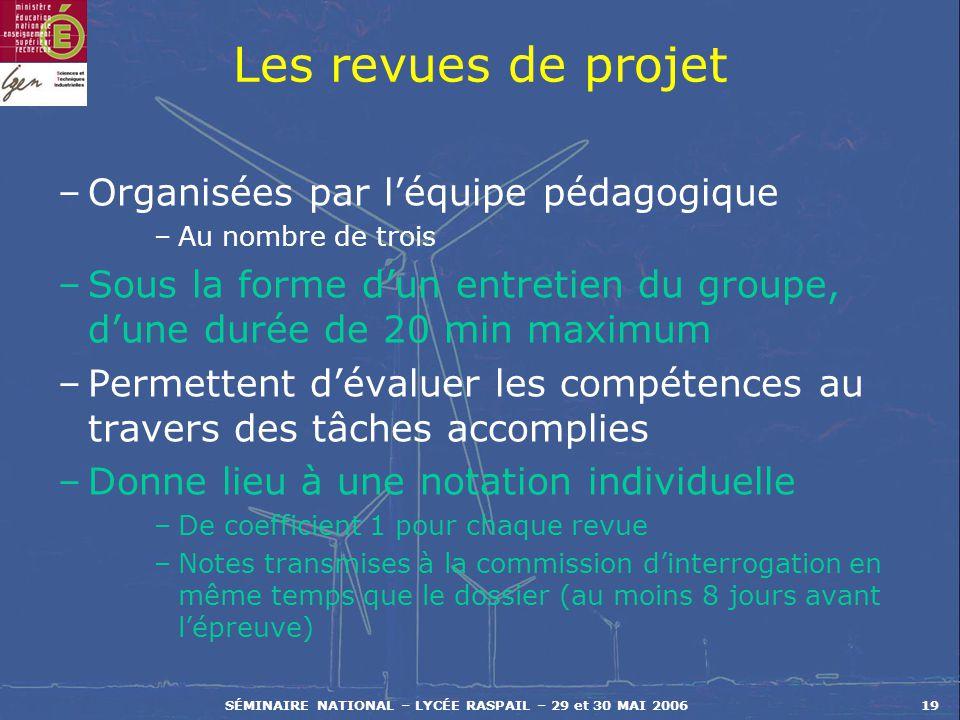 SÉMINAIRE NATIONAL – LYCÉE RASPAIL – 29 et 30 MAI 200619 Les revues de projet –Organisées par léquipe pédagogique –Au nombre de trois –Sous la forme d