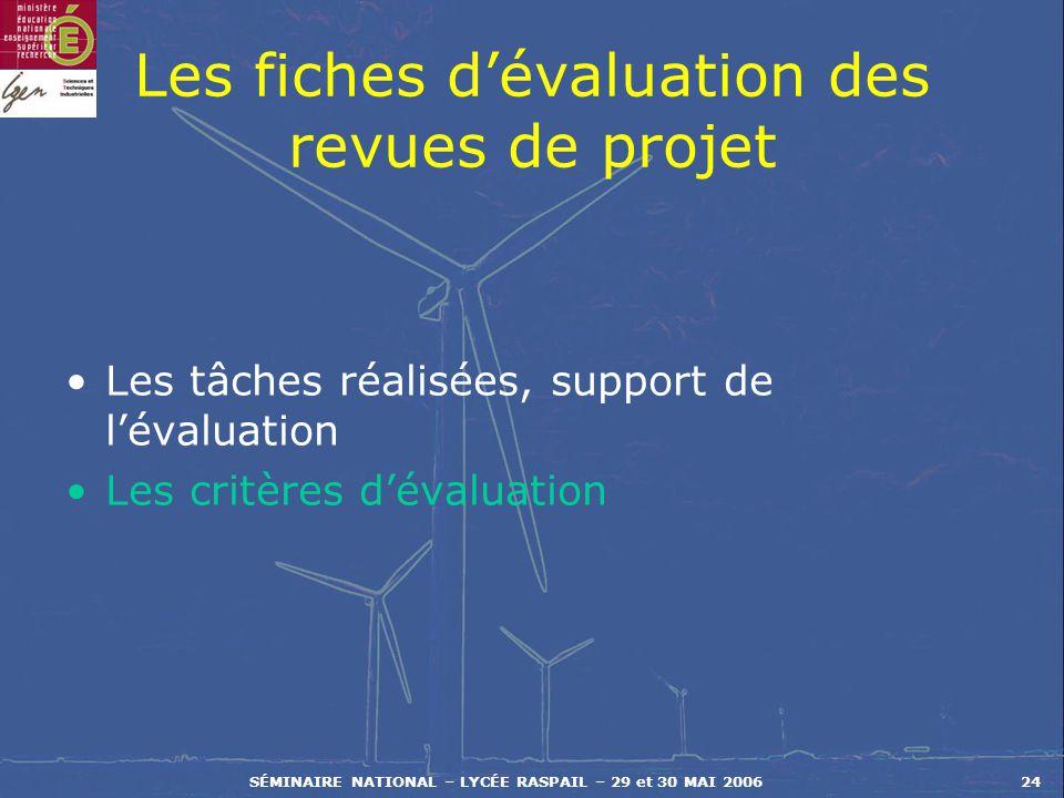 SÉMINAIRE NATIONAL – LYCÉE RASPAIL – 29 et 30 MAI 200624 Les fiches dévaluation des revues de projet Les tâches réalisées, support de lévaluation Les