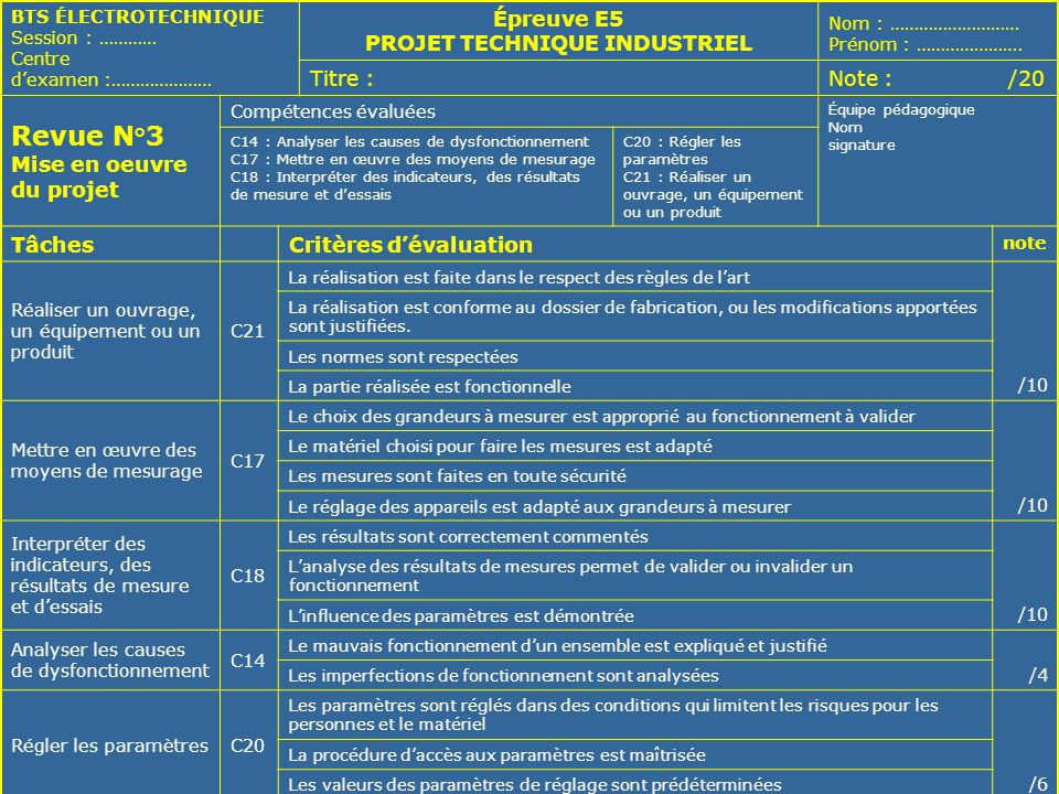 SÉMINAIRE NATIONAL – LYCÉE RASPAIL – 29 et 30 MAI 200627 BTS ÉLECTROTECHNIQUE Session : ………… Centre dexamen :………………… Épreuve E5 PROJET TECHNIQUE INDUS