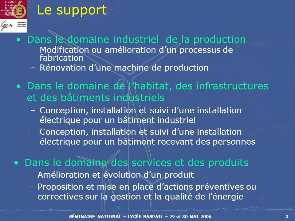 SÉMINAIRE NATIONAL – LYCÉE RASPAIL – 29 et 30 MAI 20063 Le support Dans le domaine industriel de la production –Modification ou amélioration dun proce
