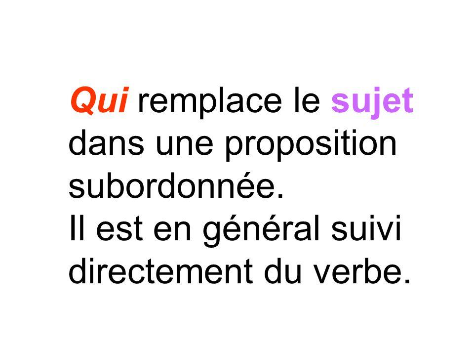 Qui remplace le sujet dans une proposition subordonnée. Il est en général suivi directement du verbe.