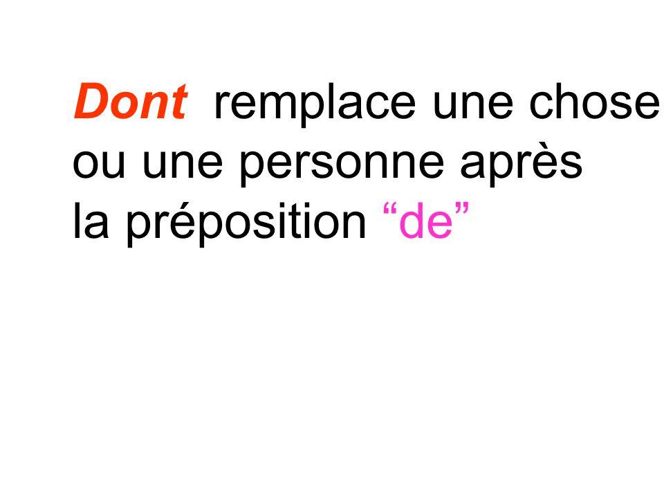 Dont remplace une chose ou une personne après la préposition de