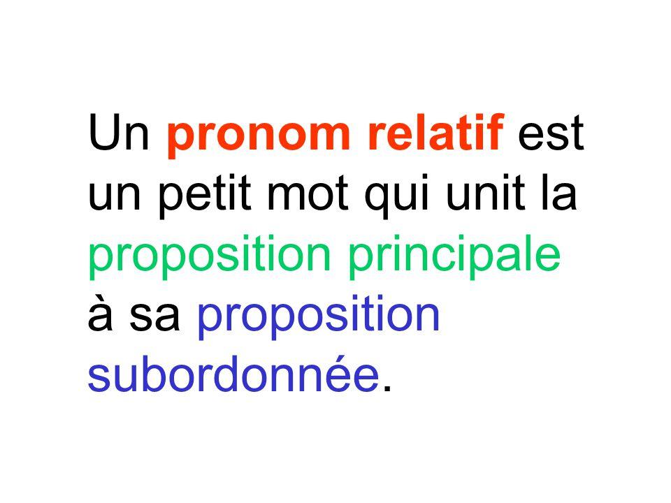 Un pronom relatif est un petit mot qui unit la proposition principale à sa proposition subordonnée.