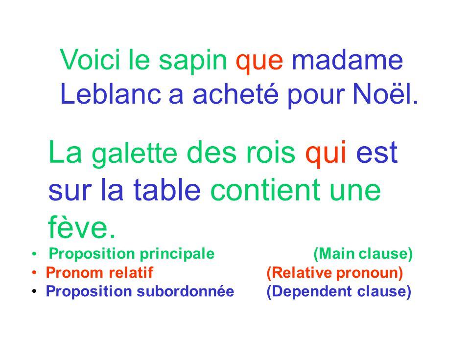 Voici le sapin que madame Leblanc a acheté pour Noël. La galette des rois qui est sur la table contient une fève. Proposition principale (Main clause)