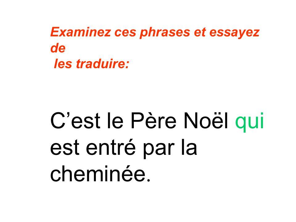 Examinez ces phrases et essayez de les traduire: Cest le Père Noël qui est entré par la cheminée.