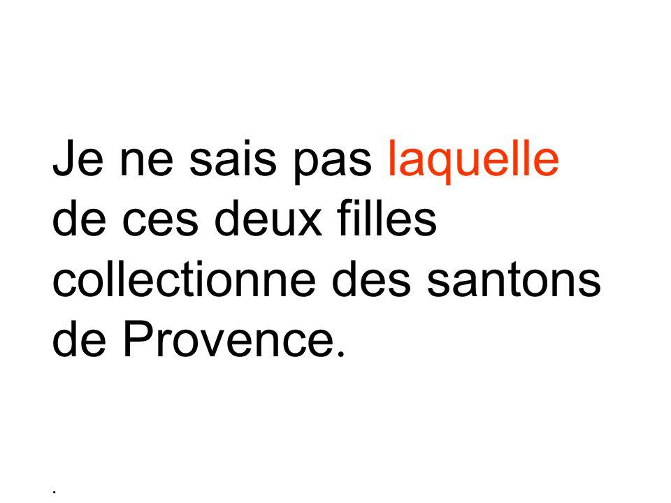 Je ne sais pas laquelle de ces deux filles collectionne des santons de Provence..