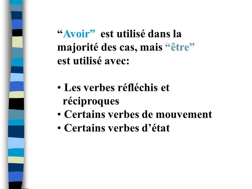Avoir est utilisé dans la majorité des cas, mais être est utilisé avec: Les verbes réfléchis et réciproques Certains verbes de mouvement Certains verb