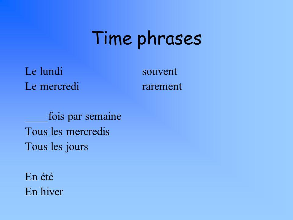 Time phrases Le lundisouvent Le mercredirarement ____fois par semaine Tous les mercredis Tous les jours En été En hiver