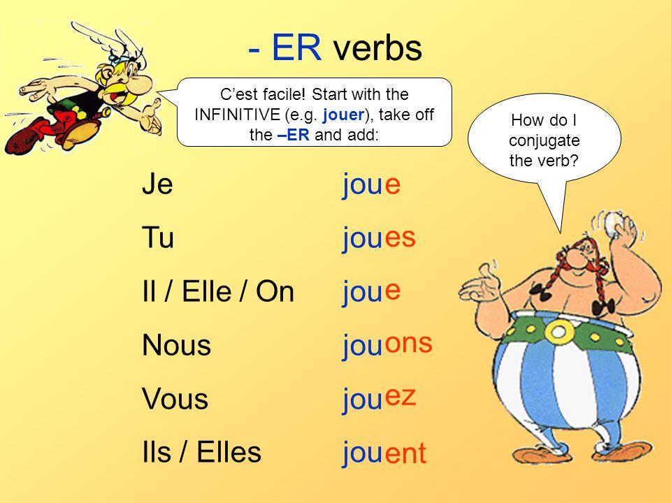 - ER verbs Je jou Tu jou Il / Elle / On jou Nous jou Vous jou Ils / Elles jou e es e ons ez ent Cest facile! Start with the INFINITIVE (e.g. jouer), t