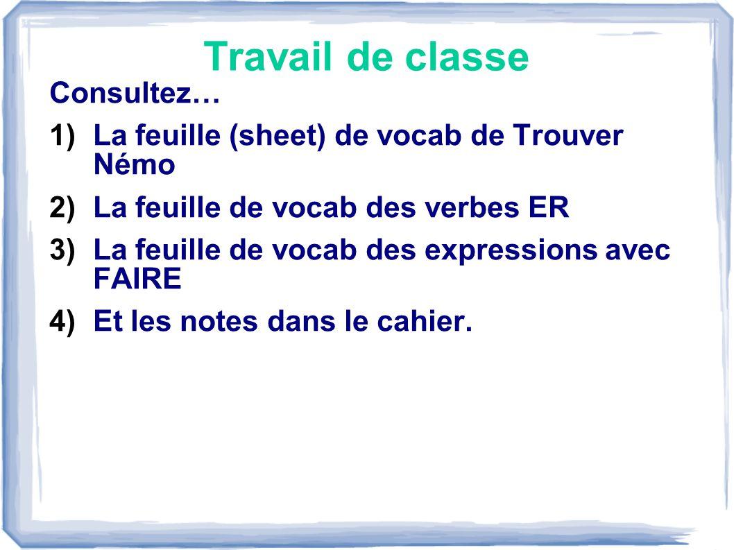 Travail de classe Consultez… 1)La feuille (sheet) de vocab de Trouver Némo 2)La feuille de vocab des verbes ER 3)La feuille de vocab des expressions avec FAIRE 4)Et les notes dans le cahier.
