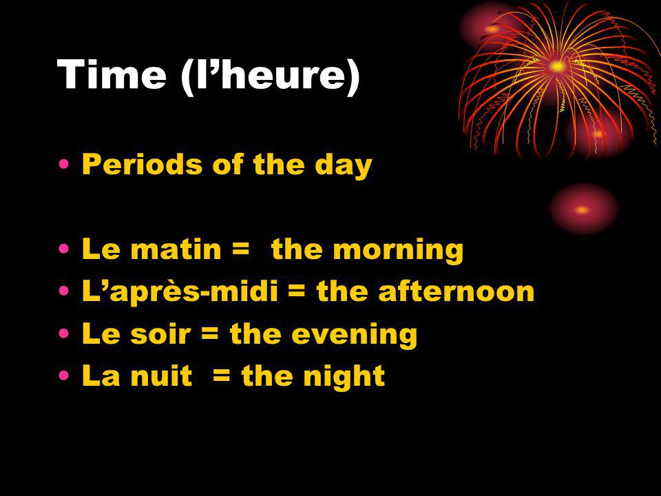 Notes de Classe.Le dix-huit octobre. How to talk about time in French.