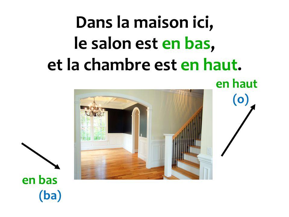 Dans la maison ici, le salon est en bas, et la chambre est en haut. en bas (ba) en haut (o)