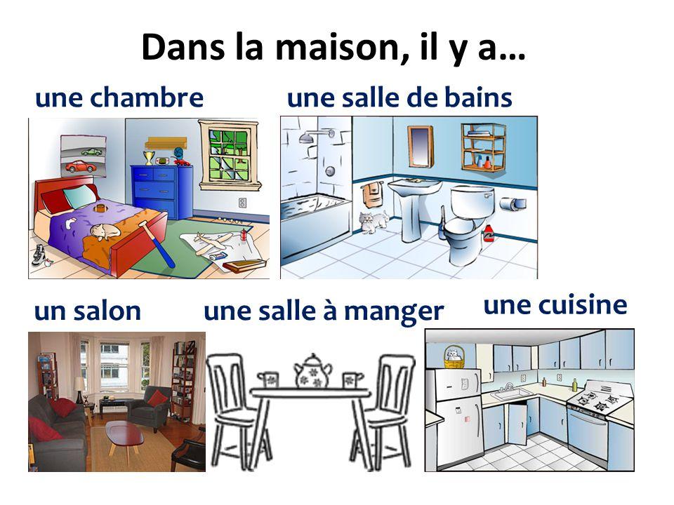 Dans la maison, il y a… une chambreune salle de bains un salonune salle à manger une cuisine