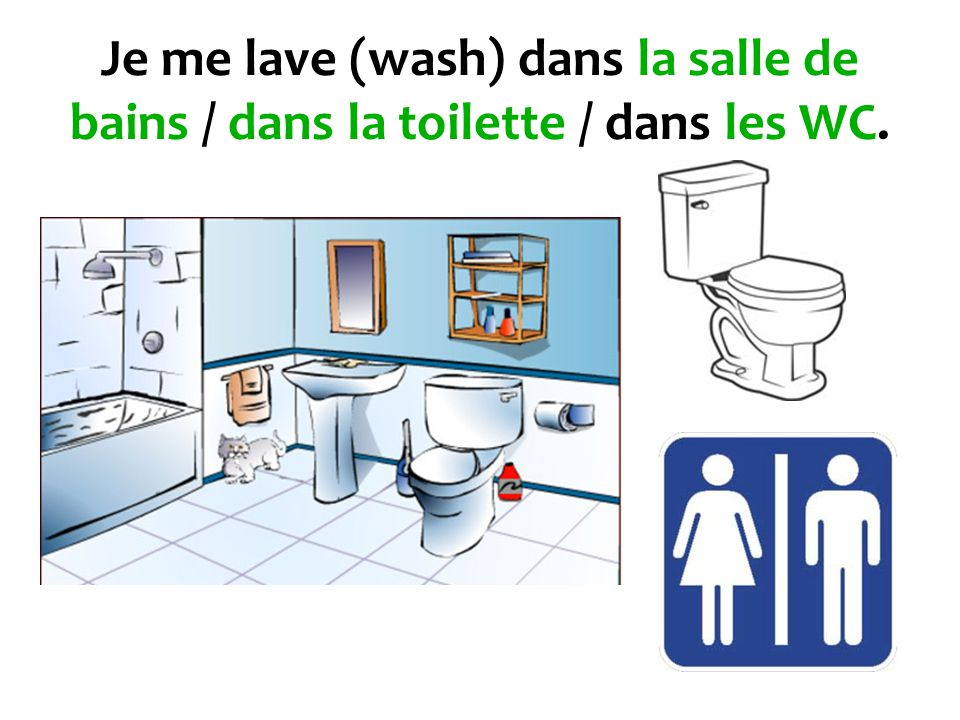 Je me lave (wash) dans la salle de bains / dans la toilette / dans les WC.