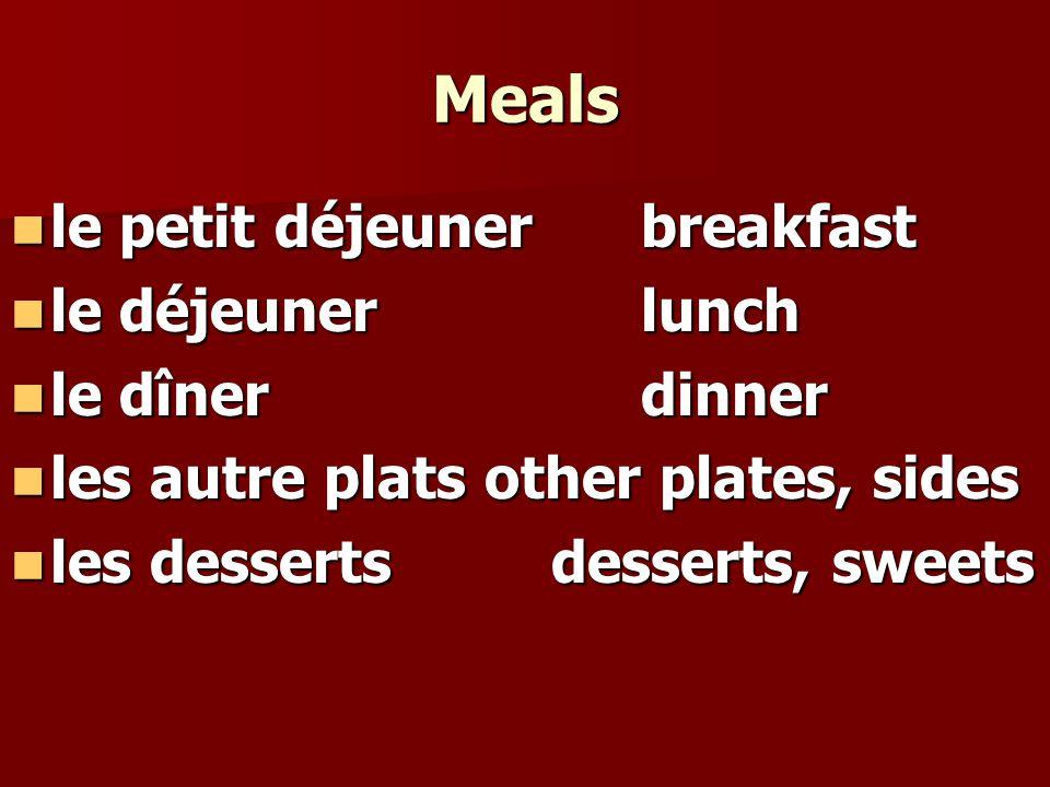 Meals le petit déjeunerbreakfast le petit déjeunerbreakfast le déjeunerlunch le déjeunerlunch le dînerdinner le dînerdinner les autre plats other plates, sides les autre plats other plates, sides les desserts desserts, sweets les desserts desserts, sweets