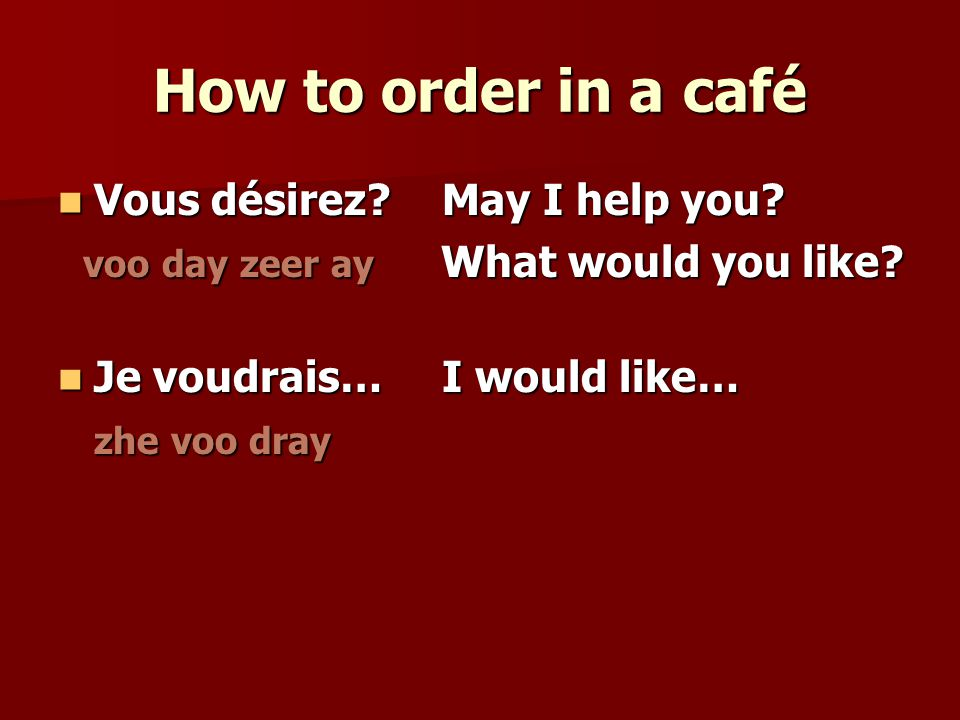 How to order in a café Vous désirez May I help you.