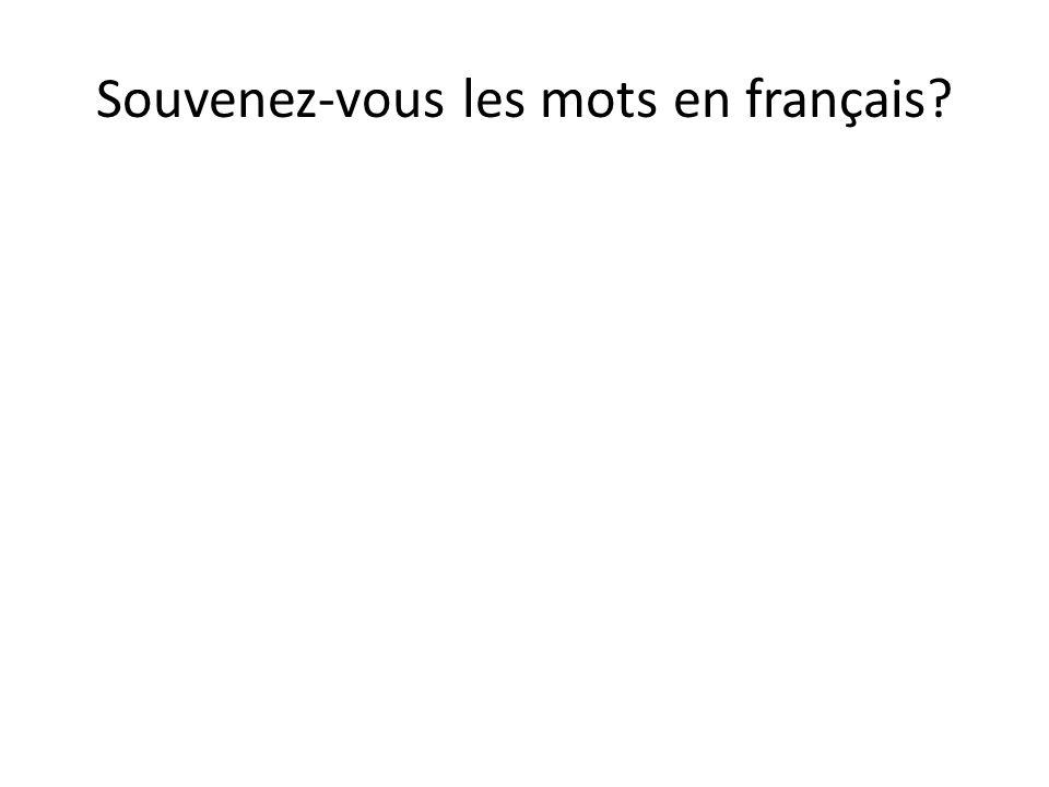 Souvenez-vous les mots en français
