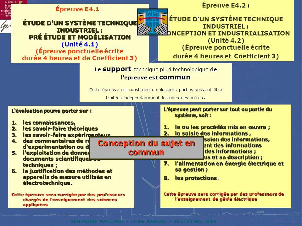 SÉMINAIRE NATIONAL – LYCÉE RASPAIL – 29 et 30 MAI 2006 Épreuve E4.1 : ÉTUDE DUN SYSTÈME TECHNIQUE INDUSTRIEL : PRÉ ÉTUDE ET MODÉLISATION (Unité 4.1) (