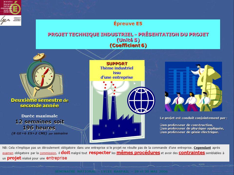 SÉMINAIRE NATIONAL – LYCÉE RASPAIL – 29 et 30 MAI 2006 Épreuve E5 PROJET TECHNIQUE INDUSTRIEL - PRÉSENTATION DU PROJET (Unité 5) (Coefficient 6) Deuxi