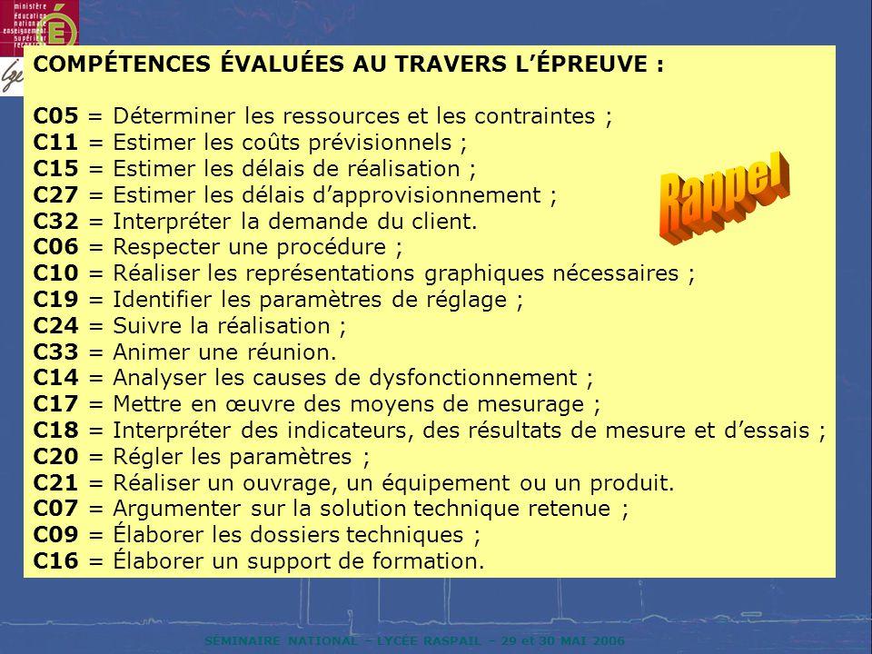 SÉMINAIRE NATIONAL – LYCÉE RASPAIL – 29 et 30 MAI 2006 COMPÉTENCES ÉVALUÉES AU TRAVERS LÉPREUVE : C05 = Déterminer les ressources et les contraintes ; C11 = Estimer les coûts prévisionnels ; C15 = Estimer les délais de réalisation ; C27 = Estimer les délais dapprovisionnement ; C32 = Interpréter la demande du client.