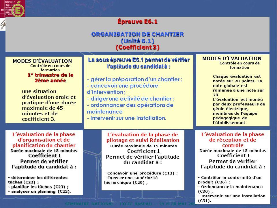 SÉMINAIRE NATIONAL – LYCÉE RASPAIL – 29 et 30 MAI 2006 Épreuve E6.1 ORGANISATION DE CHANTIER (Unité 6.1) (Coefficient 3) La sous épreuve E6.1 permet de vérifier laptitude du candidat à : - gérer la préparation dun chantier ; - concevoir une procédure dintervention ; - diriger une activité de chantier ; - ordonnancer des opérations de maintenance - intervenir sur une installation.