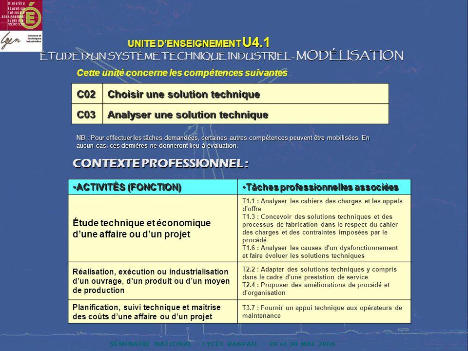 SÉMINAIRE NATIONAL – LYCÉE RASPAIL – 29 et 30 MAI 2006 UNITE DENSEIGNEMENT U4.1 UNITE DENSEIGNEMENT U4.1 ÉTUDE DUN SYSTÈME TECHNIQUE INDUSTRIEL - MODÉ