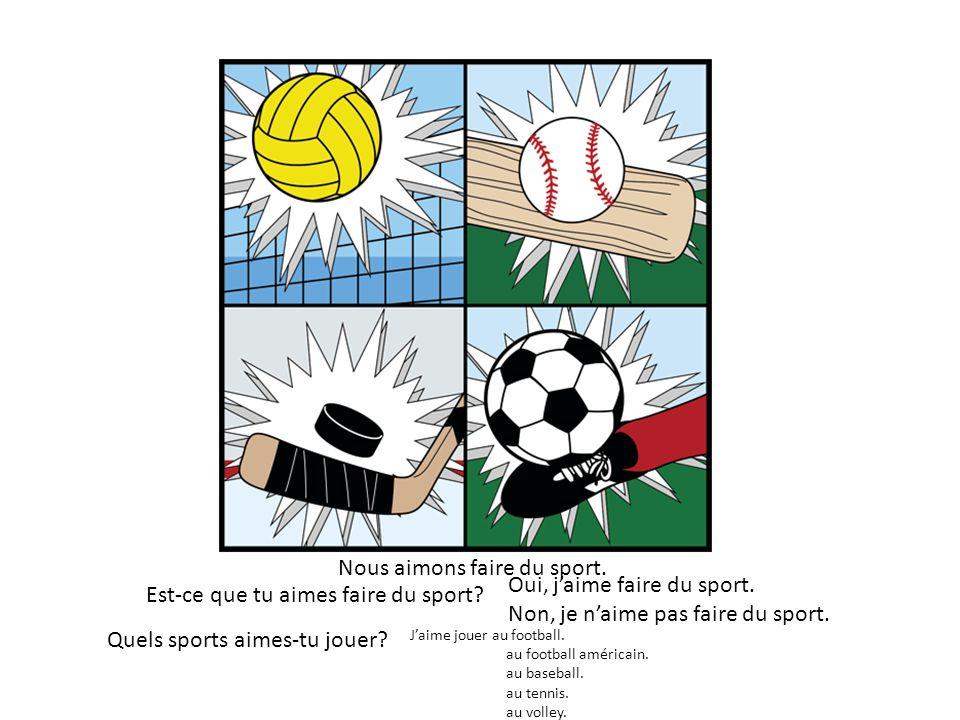 Nous aimons faire du sport. Est-ce que tu aimes faire du sport? Quels sports aimes-tu jouer? Jaime jouer au football. au football américain. au baseba
