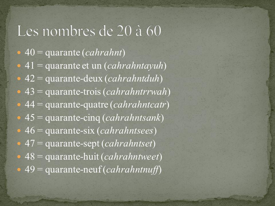40 = quarante (cahrahnt) 41 = quarante et un (cahrahntayuh) 42 = quarante-deux (cahrahntduh) 43 = quarante-trois (cahrahntrrwah) 44 = quarante-quatre (cahrahntcatr) 45 = quarante-cinq (cahrahntsank) 46 = quarante-six (cahrahntsees) 47 = quarante-sept (cahrahntset) 48 = quarante-huit (cahrahntweet) 49 = quarante-neuf (cahrahntnuff)