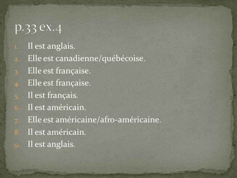 1. Il est anglais. 2. Elle est canadienne/québécoise. 3. Elle est française. 4. Elle est française. 5. Il est français. 6. Il est américain. 7. Elle e