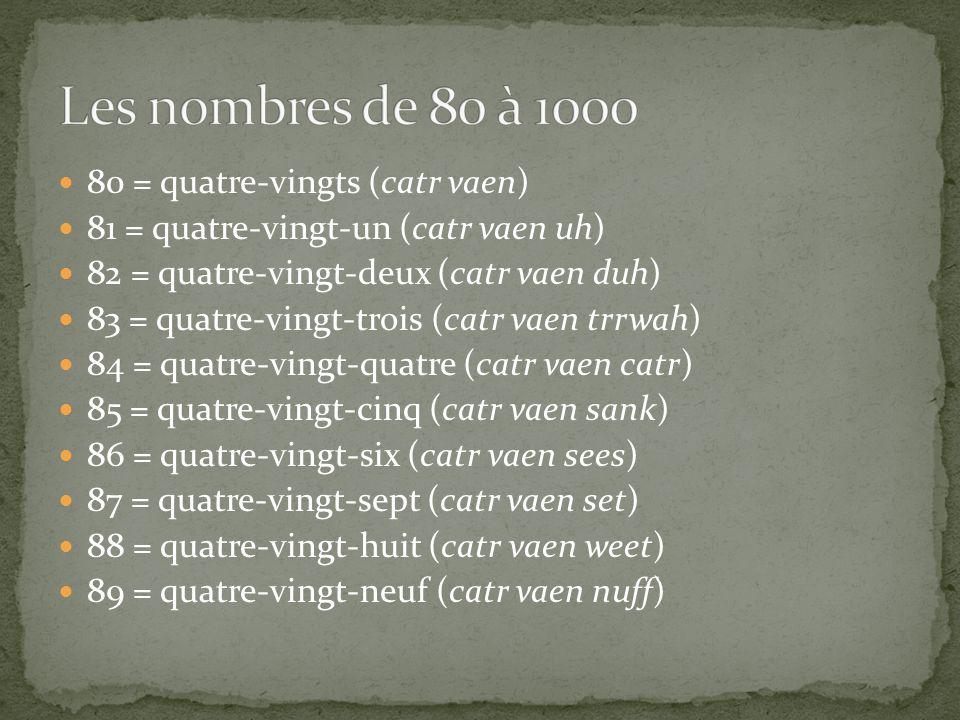80 = quatre-vingts (catr vaen) 81 = quatre-vingt-un (catr vaen uh) 82 = quatre-vingt-deux (catr vaen duh) 83 = quatre-vingt-trois (catr vaen trrwah) 84 = quatre-vingt-quatre (catr vaen catr) 85 = quatre-vingt-cinq (catr vaen sank) 86 = quatre-vingt-six (catr vaen sees) 87 = quatre-vingt-sept (catr vaen set) 88 = quatre-vingt-huit (catr vaen weet) 89 = quatre-vingt-neuf (catr vaen nuff)
