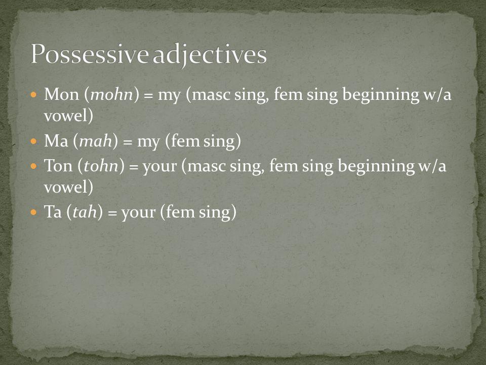 Mon (mohn) = my (masc sing, fem sing beginning w/a vowel) Ma (mah) = my (fem sing) Ton (tohn) = your (masc sing, fem sing beginning w/a vowel) Ta (tah) = your (fem sing)