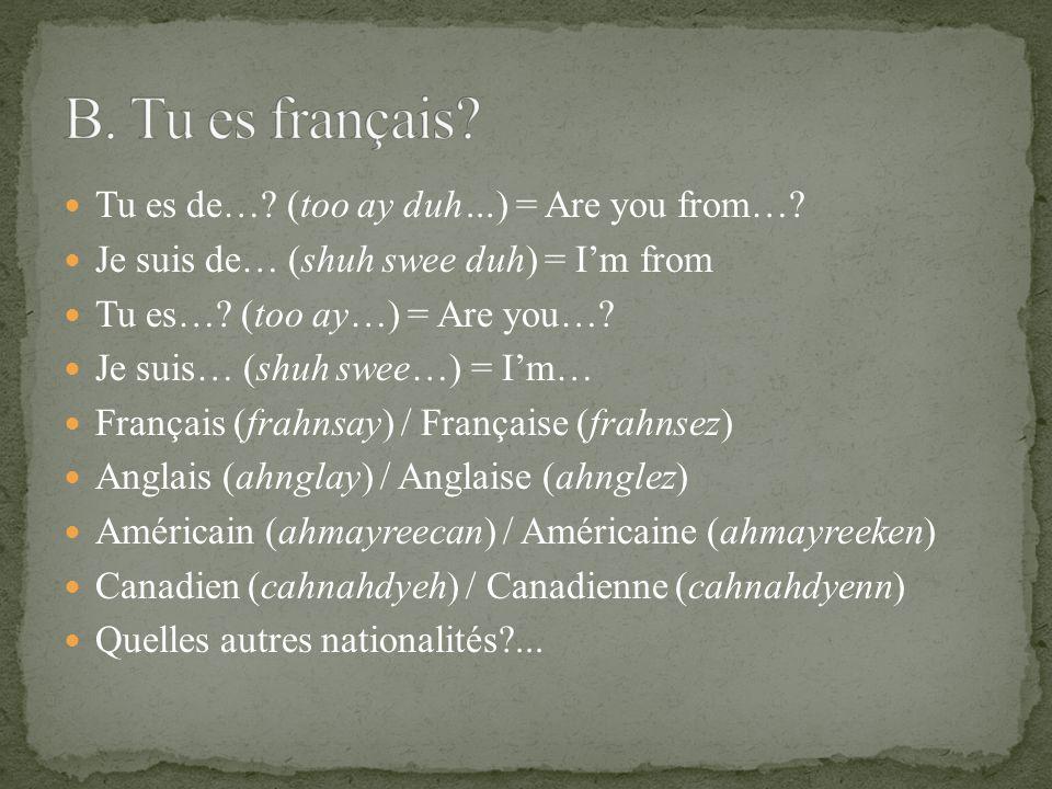 hollandais(e) russe allemand(e) polonais(e) sud-africain(e) portugais(e) indien(ne) chinois(e) philippin(e) mexicain(e) portoricain(e) israélien(ne) nigérien(ne) danois(e) espagnol(e) dominicain(e) jamaïquain(e) égyptien(ne) argentin(e) brésilien(ne) italien(ne) irlandais(e) tchèque écossais(e) ukrainien(ne) colombien(ne) australien(ne) hongrois(e) grec(que) coréen(ne) vietnamien(ne) thaïlandais(e)