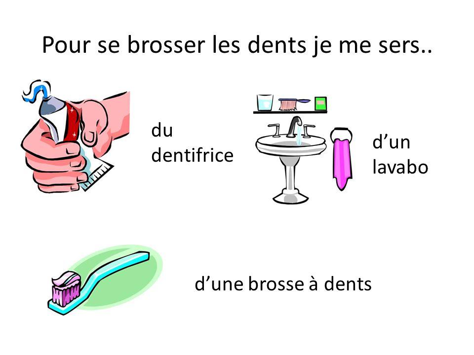 Pour se brosser les dents je me sers.. du dentifrice dune brosse à dents dun lavabo