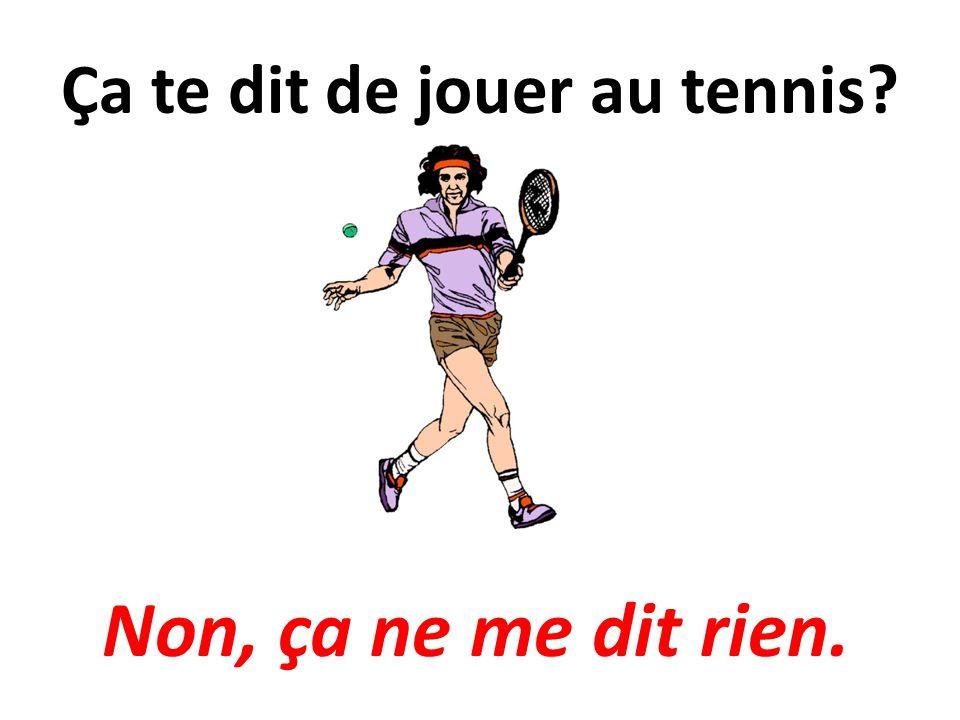 Ça te dit de jouer au tennis? Non, ça ne me dit rien.