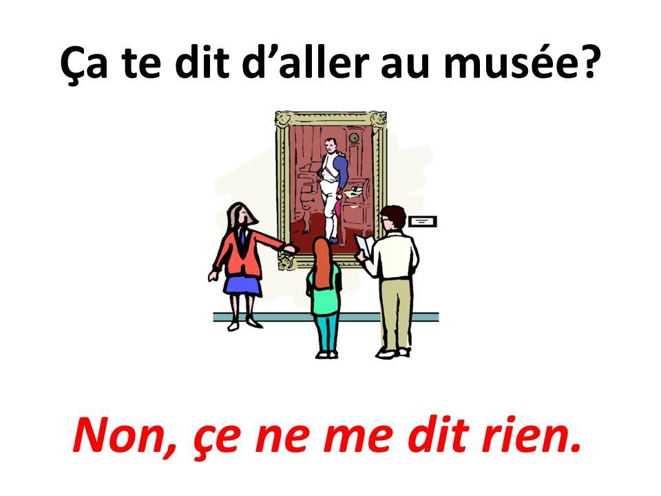 Ça te dit daller au musée? Non, çe ne me dit rien.