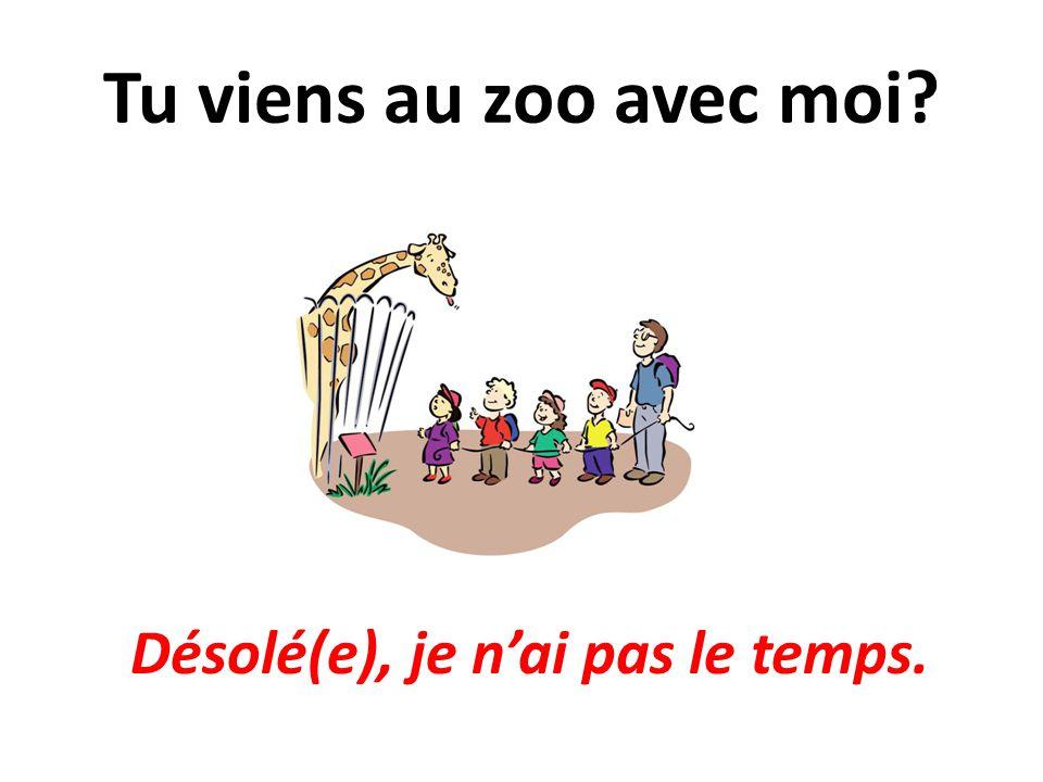 Tu viens au zoo avec moi? Désolé(e), je nai pas le temps.