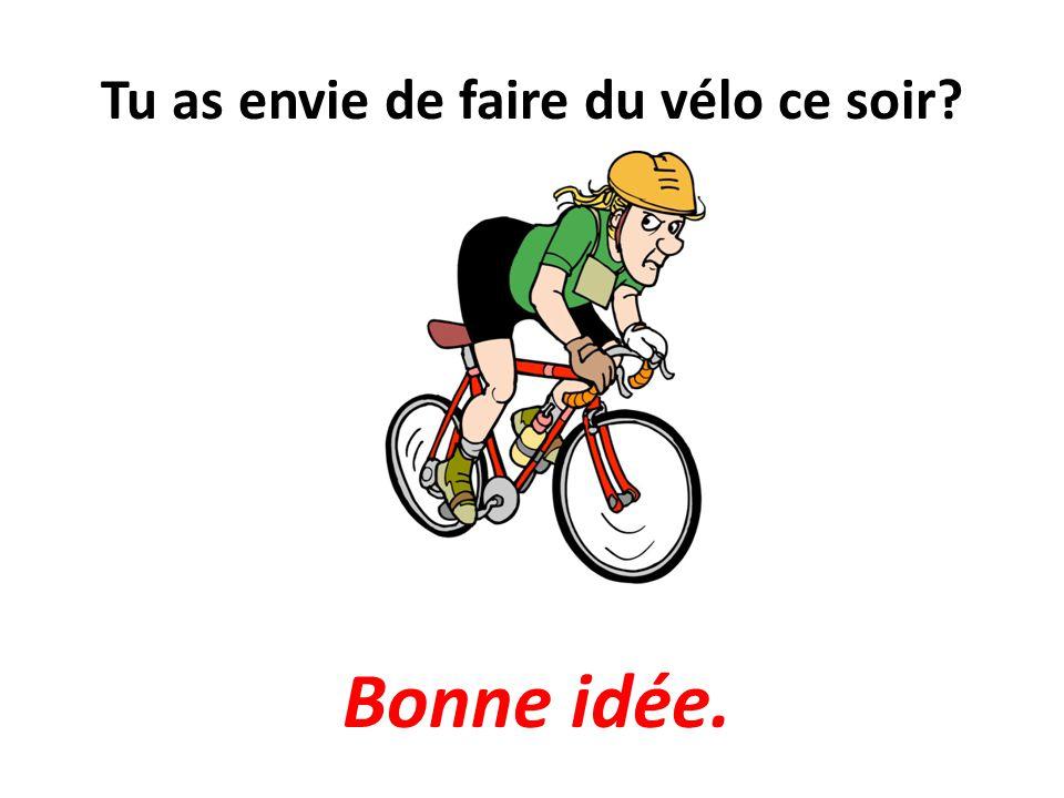 Tu as envie de faire du vélo ce soir? Bonne idée.