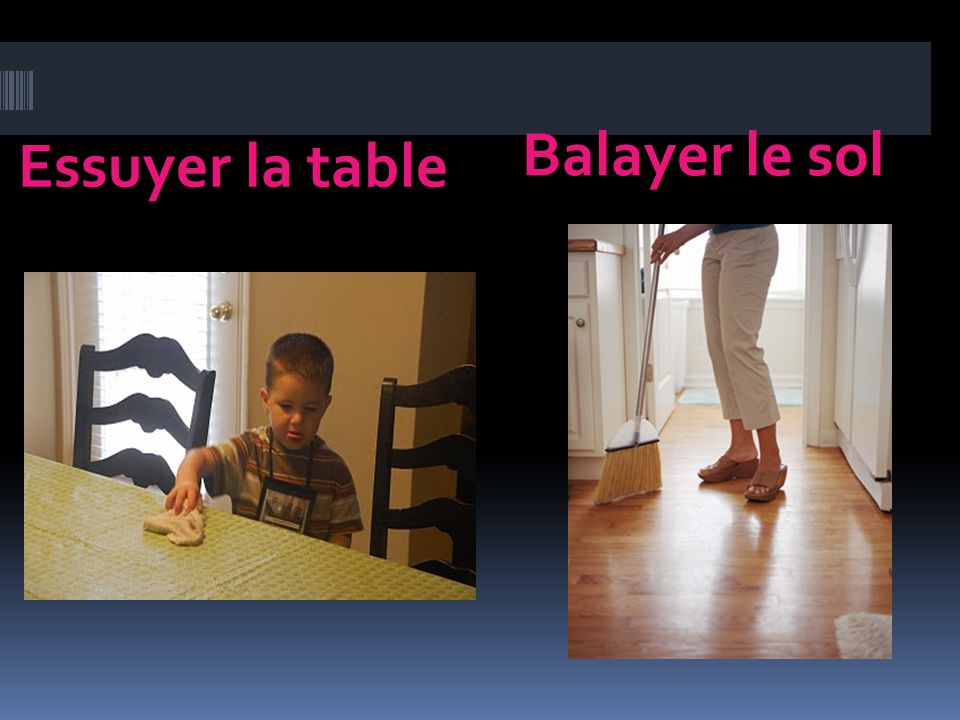 Essuyer la table Balayer le sol