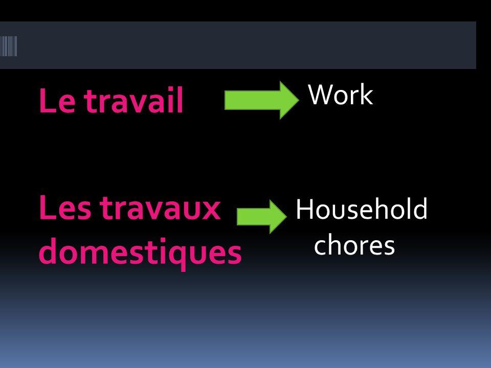Le travail Les travaux domestiques Work Household chores