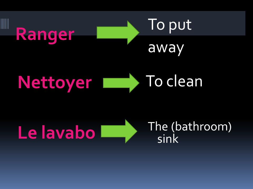 Ranger Nettoyer To put away To clean Le lavabo The (bathroom) sink