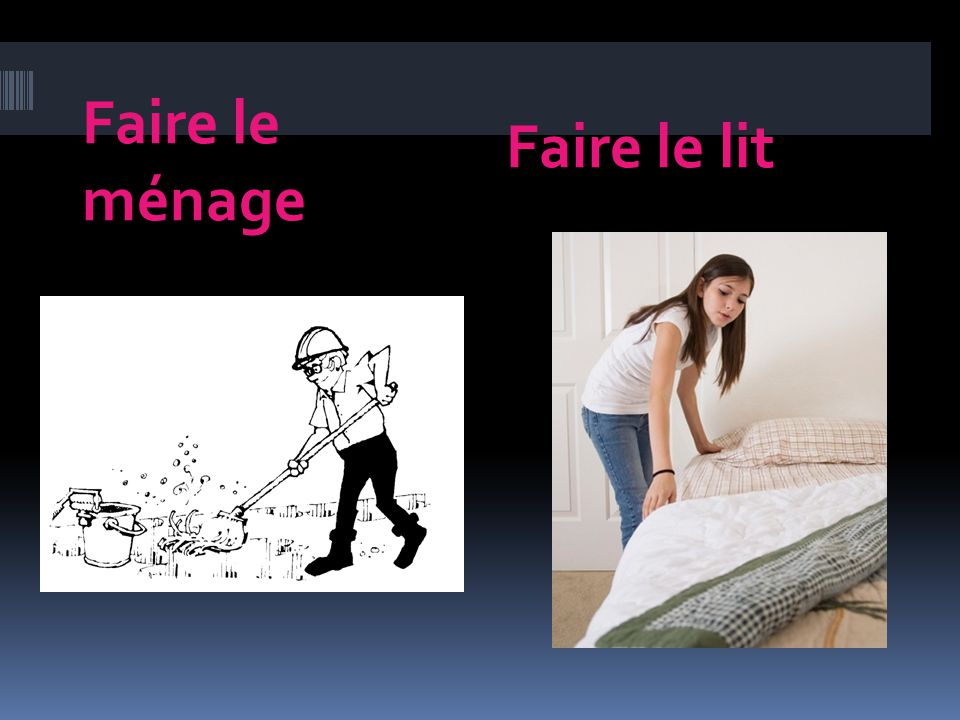 Le sol Ordures the floor garbage poubelle La lingerie Le linge trash can laundry room laundry Repasser to iron