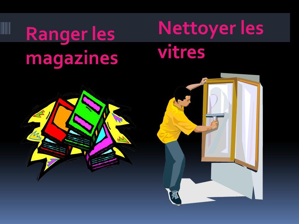 Vider Débarrasser to empty to clear Laspirateur Les vitres La corbeille vacuum the windows wastepaper basket