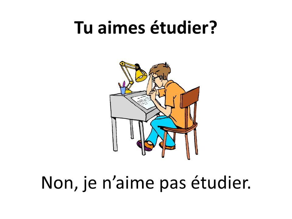 Tu aimes étudier? Non, je naime pas étudier.