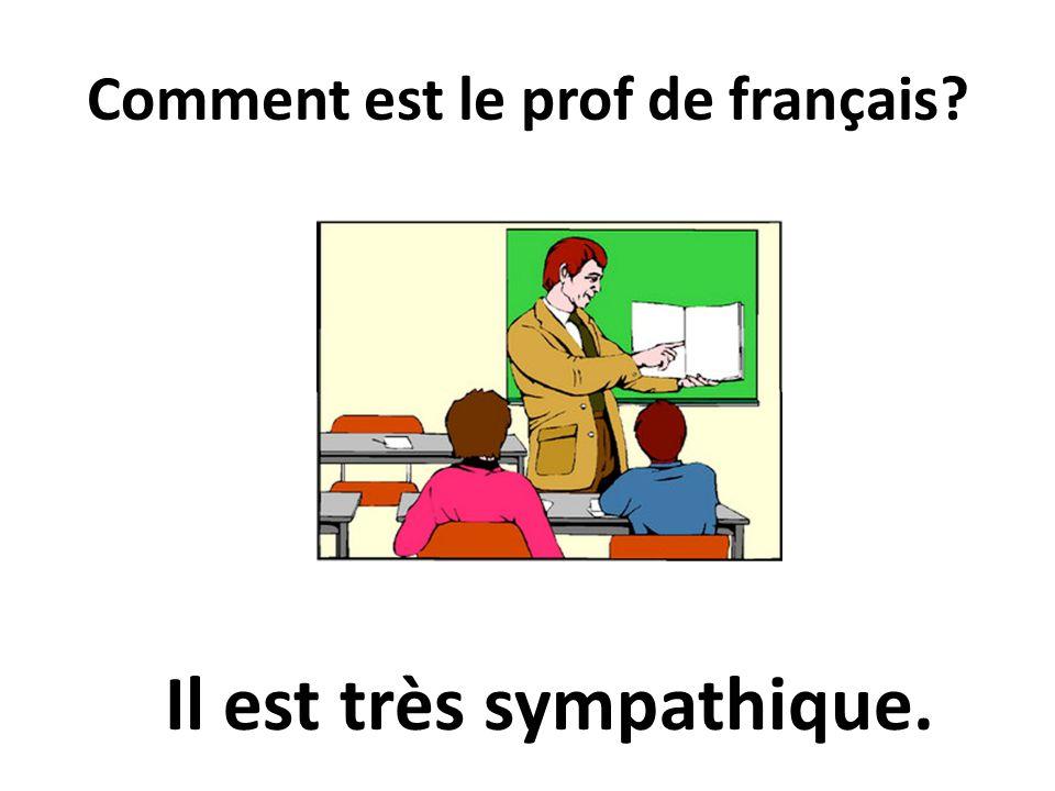 Comment est le prof de français? Il est très sympathique.