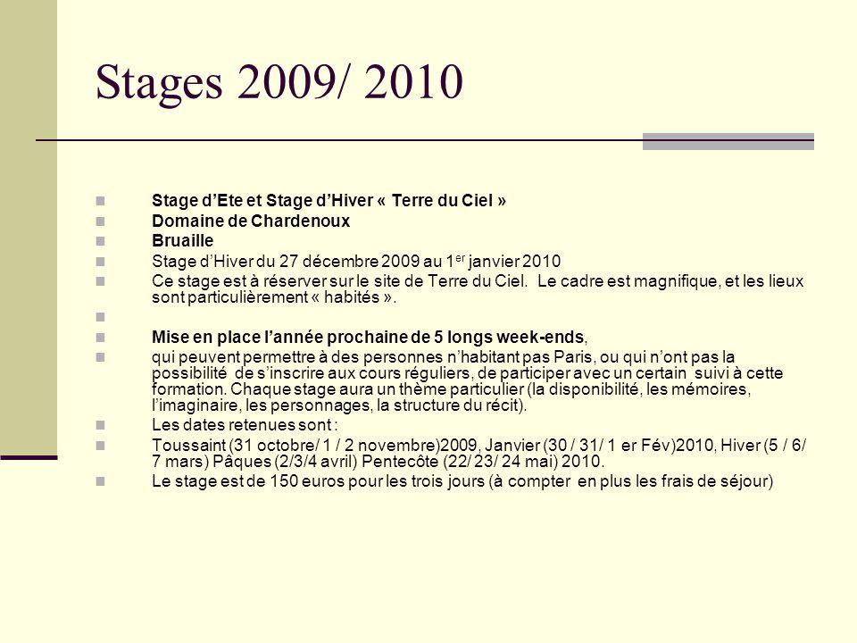Stages 2009/ 2010 Stage dEte et Stage dHiver « Terre du Ciel » Domaine de Chardenoux Bruaille Stage dHiver du 27 décembre 2009 au 1 er janvier 2010 Ce stage est à réserver sur le site de Terre du Ciel.