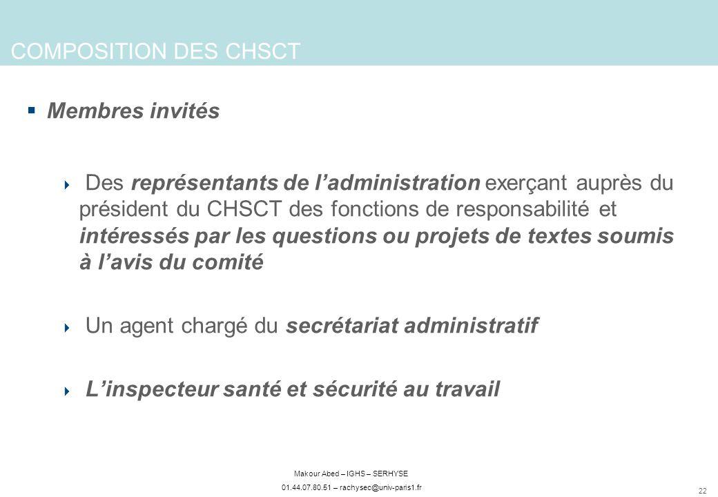 22 Makour Abed – IGHS – SERHYSE 01.44.07.80.51 – rachysec@univ-paris1.fr COMPOSITION DES CHSCT Membres invités Des représentants de ladministration ex