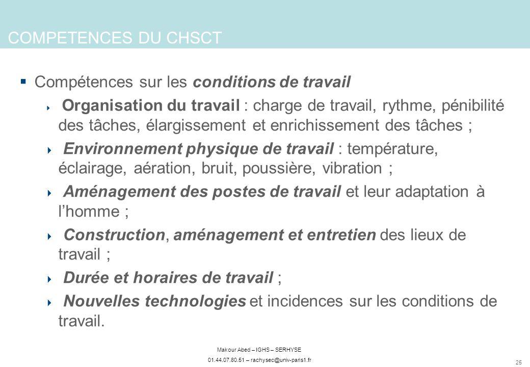 25 Makour Abed – IGHS – SERHYSE 01.44.07.80.51 – rachysec@univ-paris1.fr COMPETENCES DU CHSCT Compétences sur les conditions de travail Organisation d