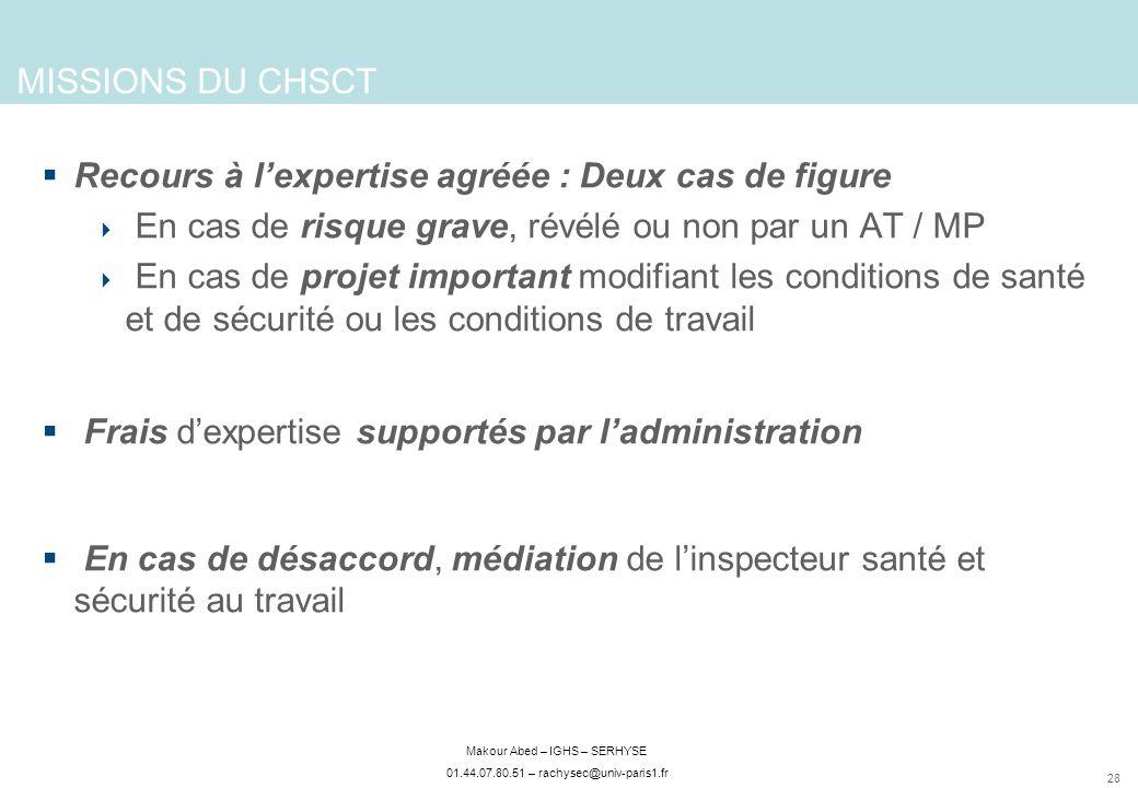 28 Makour Abed – IGHS – SERHYSE 01.44.07.80.51 – rachysec@univ-paris1.fr Recours à lexpertise agréée : Deux cas de figure En cas de risque grave, révé